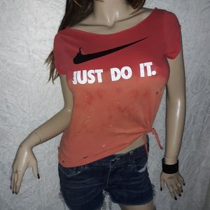 Nike DiY Ombre Distressed T-Shirt Red Orange Holes